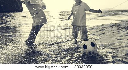 Football Beach Playing Leisure Activity Fun Concept