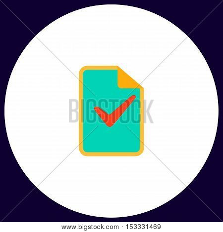 Ok glyph Simple vector button. Illustration symbol. Color flat icon