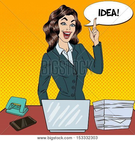 Pop Art Busy Business Woman Had an Idea at Multi Tasking Office Work. Vector illustration