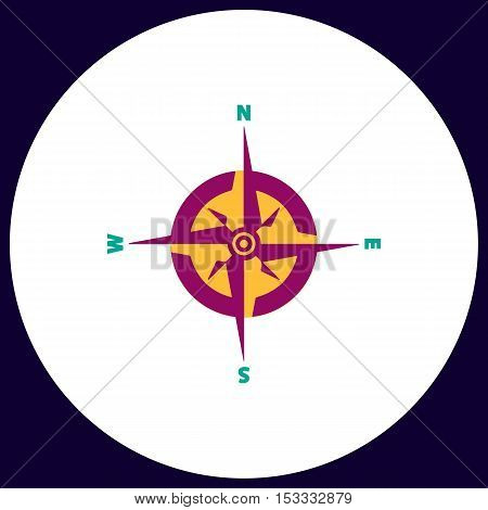 Compass Simple vector button. Illustration symbol. Color flat icon