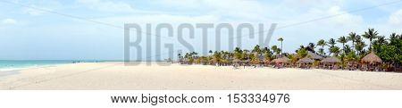 Panorama from Manchebo beach on Aruba island in the Caribbean sea