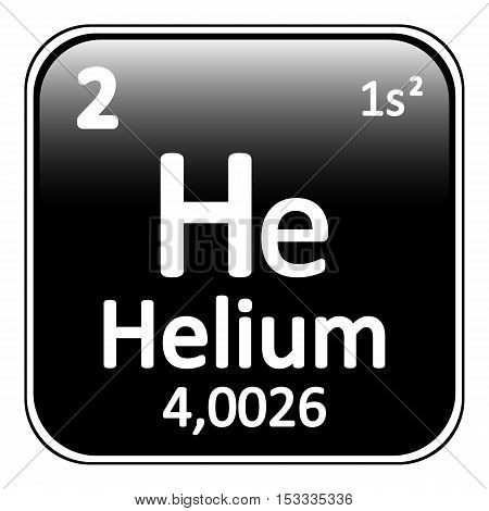 Periodic table element helium icon on white background. Vector illustration.