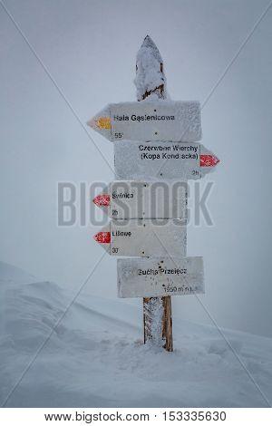 Snowy Signpost On Kasprowy Wierch, Tatra Mountains, Poland