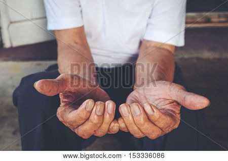 Close up Hands of old man in home