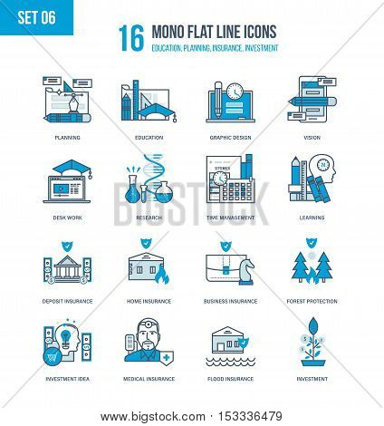 Color Flat Line icons set of insurance, types of insurance, investment and management, education, learning and research, management and planning, design and workplace. Editable Stroke.
