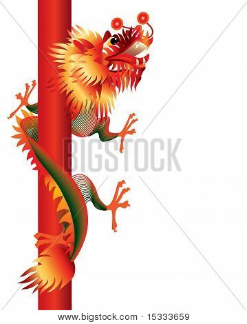 Red and green color chinese dragon with poles