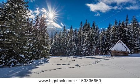 Small Snowy Cabin In Winter At Sunrise, Tatra Mountains, Poland