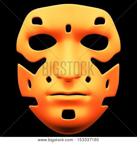 The mask isolated on black background. Mask front view isolated on black background. 3D illustration. 3D render glossy mask isolated on black background