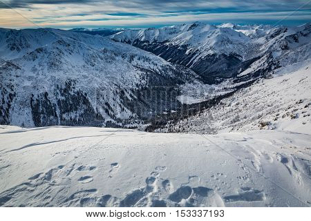 Footprints In The Snow At The Top Of The Tatra Mountains, Poland