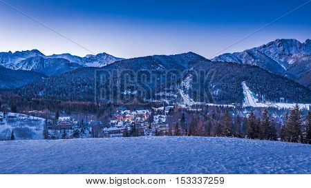 Sunset Over Zakopane In Winter, Tatras Mountains, Poland