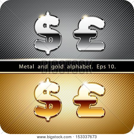 3d Joyful set of chrome metal and gold vector alphabet. Currency symbols dollar and pound.Eps 10.