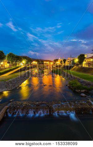 Twilight Takayama River Blue Hour Night V