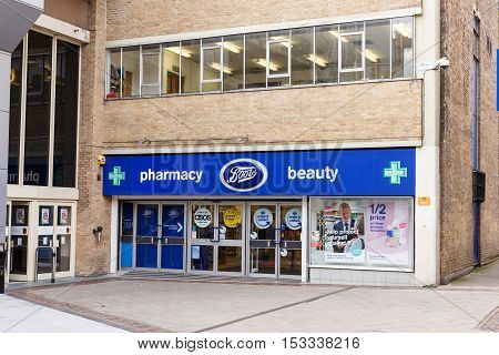 NOTTINGHAM ENGLAND - OCTOBER 22: Frontage of the Boots pharmacy store. On Listergate Nottingham England. On 22nd October 2016.