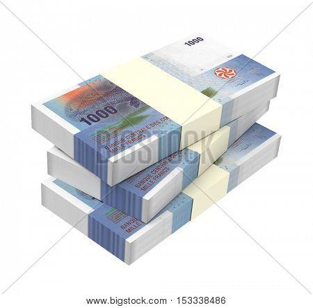 Comorian franc bills isolated on white background. 3D illustration.