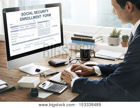 Social Security Enrollment Form Concept
