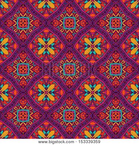 Abstract flower vintage ethnic seamless pattern ornamental . tiled floral doodle design