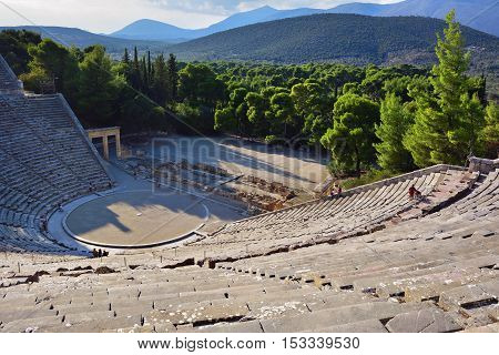 Greece. Ancient Theatre in Epidaurus (also Epidauros Epidavros) built in 340 BC. This beautiful and best preserved theatre is on UNESCO World Heritage List since 1988