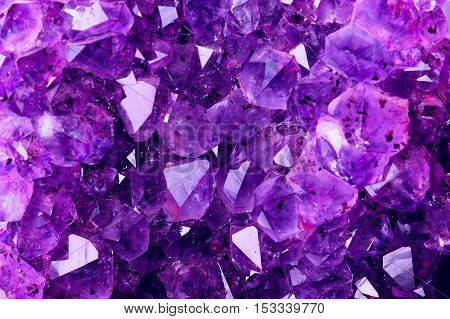 Bright Texture from Natural Amethyst. Violet Crystal background for your jewelry designs.