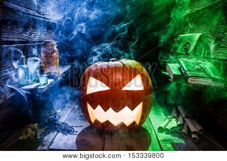 Glowing Pumpkin For Halloween In Witcher Hut