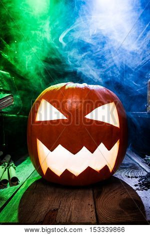 Smoking Pumpkin For Halloween With Copy Space