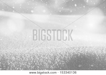 Winter snowy landscape in shades of gray