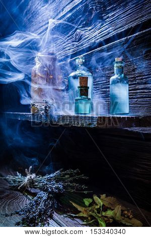Vintage Witcher Cottage With Blue Magic Potion For Halloween