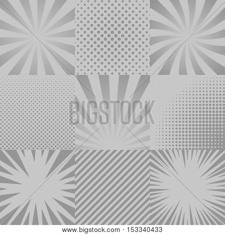 Collection of nine monochrome comic, pop art backgrounds. Rays, halftones, stripes. Vector, template isolated eps 10