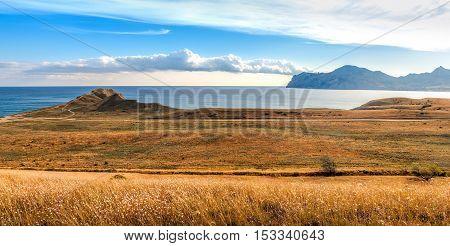 View of Koktebel bay and ancient volcano Karadag Crimea