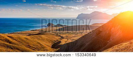 View of the Koktebel Bay Cape Chameleon and ancient volcano Karadag Crimea