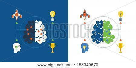 Concept of illustration - creativity and creative thinking, creative ideas and innovation. Vector illustrations are shown on a light and dark background.