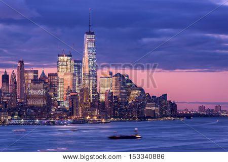 New York City skyline on the Hudson River.