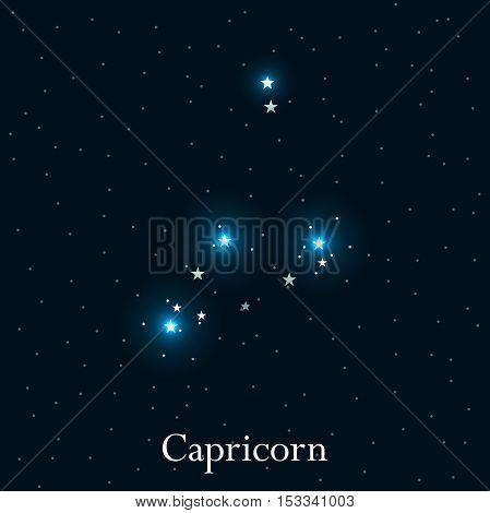Capricorn zodiac sign. Bright stars in the cosmos. Constellation Capricorn. Vector illustration.