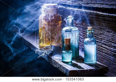 Old Witch Hut Full Of Blue Potion For Halloween