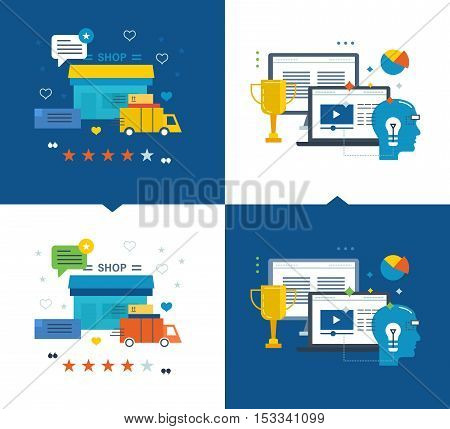 Modern education, online learning and success in learning, online shop, purchase and delivery of goods, reviews and store ratings. Vector illustrations are shown on a light and dark background.