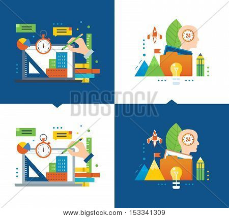 Online training, design training, distance learning courses, modern education, communication, creative process, idea of starting up. Vector illustrations are shown on a light and dark background.