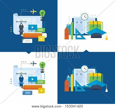 Concept of illustration - modern education, training graphic design through video communications, online courses and socializing. Vector illustrations are shown on a light and dark background.