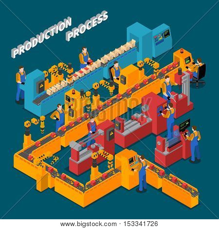Factory isometric composition with production process symbols on blue background vector illustration