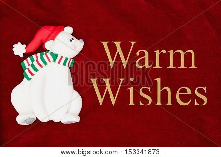 Warm Wishes greeting Red plush fabric with a polar bear background with text Warm Wishes