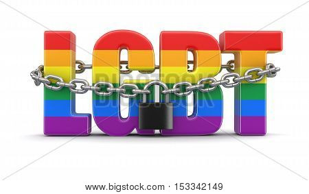 3D Illustration. Text LGBT and lock. Image with clipping path