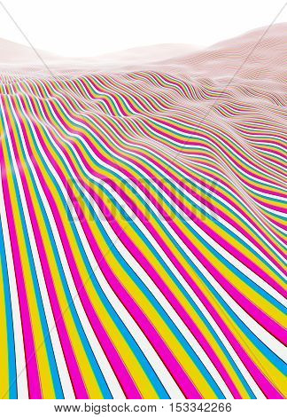 Colorful lines stripes mountains fading to white horizon illustration