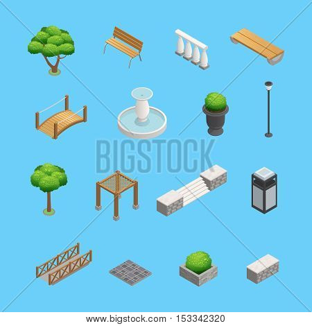 Landscaping isometric elements for garden and park design with plants trees and objects isolated on blue background vector illustration