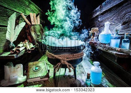 Mysterious Witcher Cauldron With Blue Potions And Books