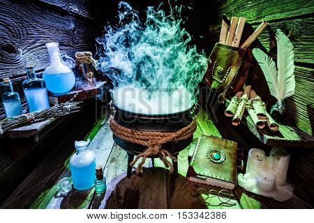 Mysterious Witch Pot With Blue And Green Smoke For Halloween