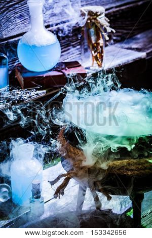 Full Of Magic Mixture Witcher Cauldron With Blue Potions For Halloween