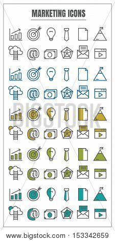icons marketing vector color black blue Yellow green on white background