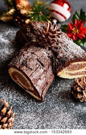 Traditional Christmas Buche De Noel Cake