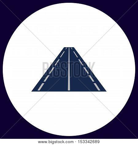 Road Simple vector button. Illustration symbol. Color flat icon
