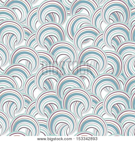 Abstract Geometric Seamless Pattern. Bubble Ornamental Background. Circles. Wave Striped Loops Chaot