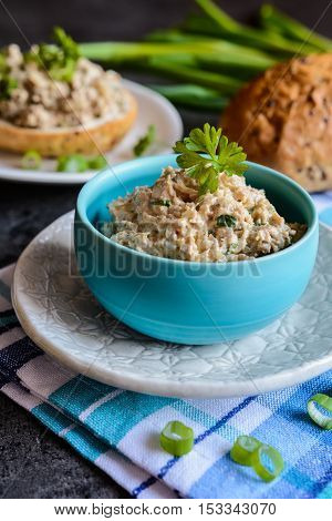 Duck Meat Spread With Onion, Mustard And Herbs