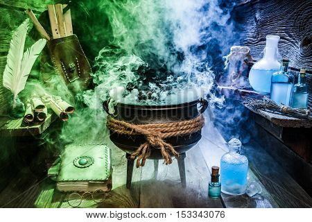 Old Witcher Cauldron With Blue And Green Smoke For Halloween